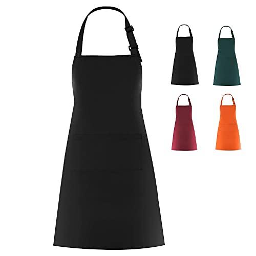 WOPOKY Cotton Blend Waterproof Apron With 2 Pockets for Men Women - Cooking Kitchen Chef Arpon BBQ Work Painting Apron - Black/Burgundy/Dark Geen/Orange (1 Pack) (Black)