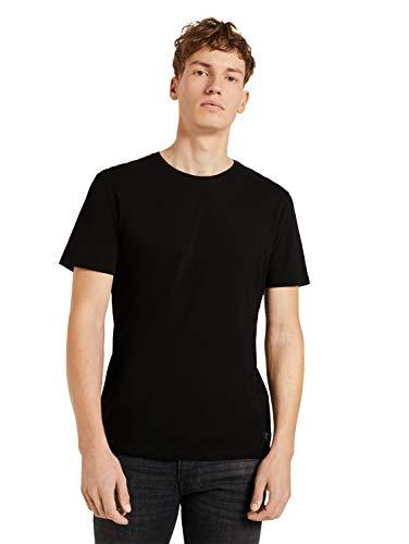 TOM TAILOR Denim 1024052 Camiseta básica, 29999-Black, M para Hombre