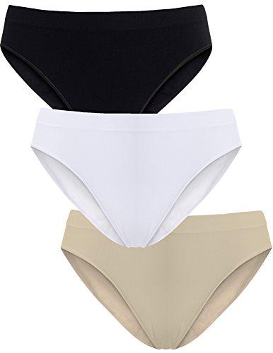 UnsichtBra Damen Unterwäsche Microfaser Slips im Mehrpack - Frauen Unterwäsche | 3-er Set - Wohlfühl - Unterhosen Damen (Schwarz,Weiss,Beige, M-L)