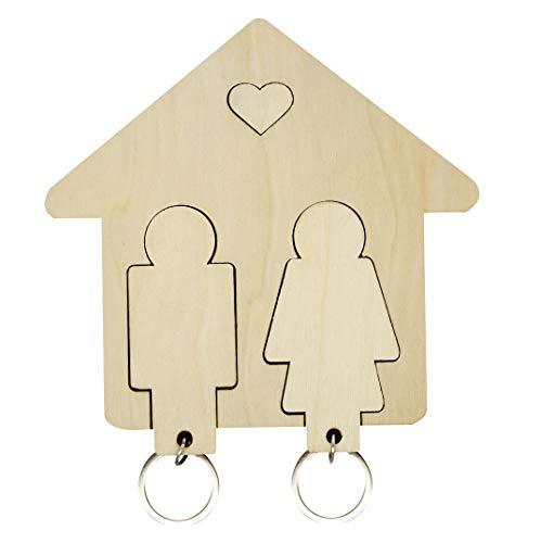 Portachiavi Coppia Casa Eco Legno Personalizzabile 2.0 Idea Regalo Originale San Valentino Fidanzamento Uomo Donna Innamorati Anniversario Matrimonio Nozze Arredamento Ingresso Decorazione Parete
