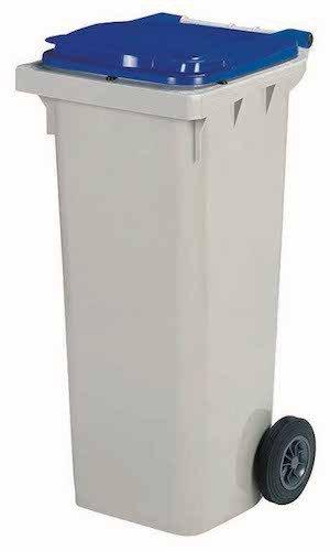 Rossignol Korok grijze vuilnisbak met 2 wielen voldoet aan de norm EN-840 1 tot 6. 340L grijs/blauw
