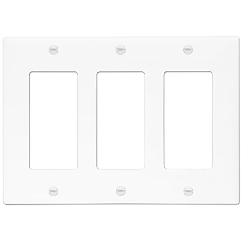 Enerlites Decorator Light Switch/Receptacle Outlet Wall Plate, Standard Size 3-Gang, Polycarbonate Thermoplastic, White 8833-W