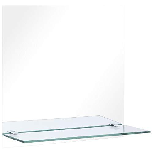 vidaXL Wandspiegel mit Regal Badezimmerspiegel Badspiegel Flurspiegel Spiegel Frisierspiegel Dekospiegel Wohnzimmer Schlafzimmer 40x40cm Hartglas