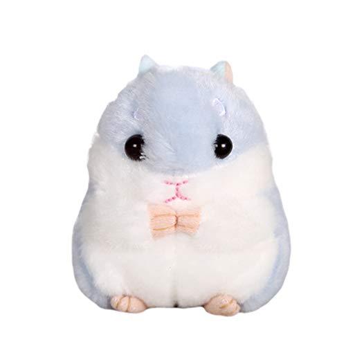 NUOBESTY Chaveiro Kawaii Hamster de pelúcia macia com desenho de animal pequeno hamster chaveiro brinquedo de pelúcia (cinza), Azul-celeste, 10*7cm