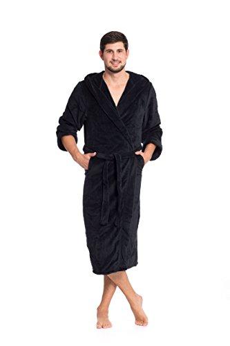 ZOLLNER Bademantel für Damen und Herren, Größe XL, Mikrofaser, schwarz