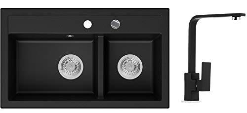 Küchenspüle Schwarz 74 x 44 cm, Spülbecken + Wasserhahn Küche + Siphon Automatisch, Granitspüle ab 80er Unterschrank in 5 Farben mit Armatur Varianten, Einbauspüle von Primagran