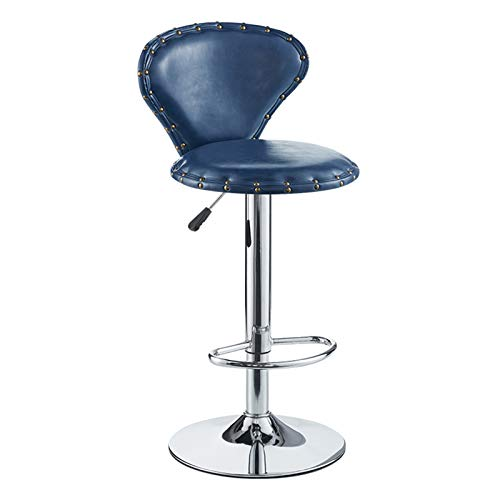 XEWNEGTZI Lifting Bar Stool 360-degree Rotating Bar Stool with Round Thick Cushion and Pedals, for Home Kitchen Counter High Stools, Load 150kg (6 Colors)(Color:Blue)