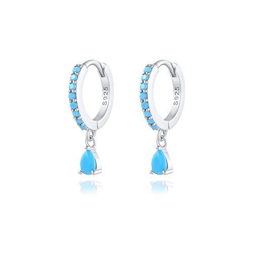 Arete Romántico colorido zircon cristales piedras preciosas aretes de aro redondo para mujeres Pendientes de boda 925 Joyería de plata esterlina para mujeres niñas ( Gem Color : 17 silver )