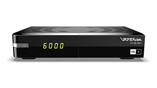 Vantage VT-55 HD+ Digitaler Full HDTV Satelliten-Receiver (HDTV, HDMI, USB Mediaplayer, inkl. HD+ Karte 6 Monate, Sat DVB-S2 Tuner, vorinstallierte Programmliste, Campingtauglich, Unicable) Schwarz