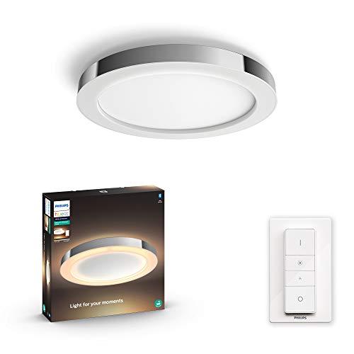Philips Hue – Lámpara inteligente, Hue Adore, Plafón LED Inteligente, Luz Blanca de Cálida a Fría, Compatible con Alexa y Google Home, Color Gris
