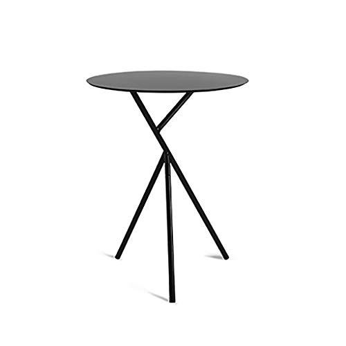 Petite table basse Tables Balcon Fer Petit Café Sofa Côté Salon Petit Rond Multifonction Simple/salon/canapé/côté/coin (Couleur : NOIR)