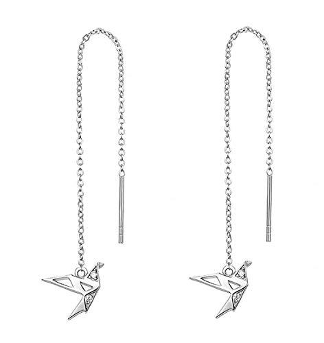 Iszie Jewelry Pendientes de plata de ley con diseño de grúas de papel de origami, pendientes colgantes de origami