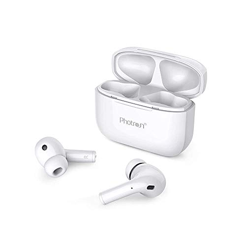 (Renewed) Photron TWS AirBeast 200 True Wireless Stereo Ear-Buds with BT V5.0/30 Hrs Playtime 400mAh Battery/Multicast Synchronisation/Multifunctional/On-Key Siri/Portable Charging case (White)