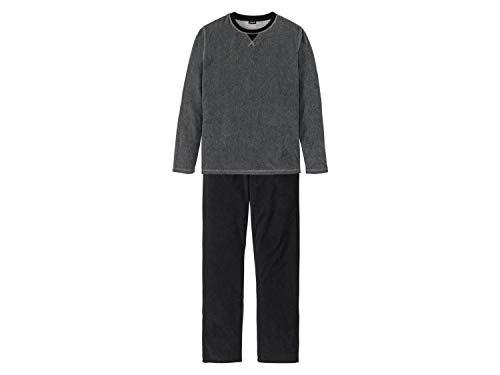 Livergy Pyjama Frottee Weich 2-Teiler Lang Schlafanzug Grau/Schwarz XXL