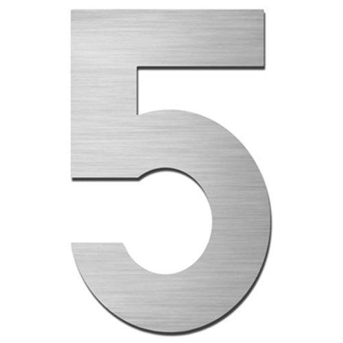 MOCAVI HS10 Hausnummer Edelstahl V4A selbstklebend Höhe 5,5-7,5 cm Edelstahl-Haustürnummer modern, Hausnummer:5