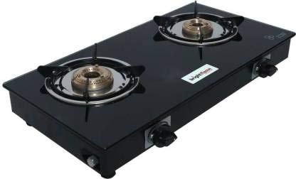 Bright Flame 2 CI Burner Compact Toughened Glass Gas Stove...