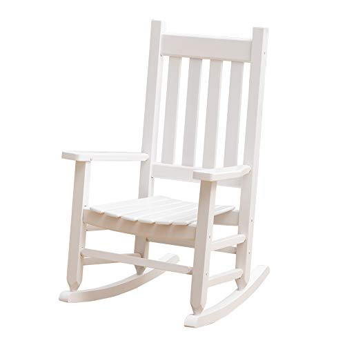 B&Z KD-23W Child's Wooden Rocking Chair Porch Rocker - Indoor/Outdoor Ages 6-10 (White)