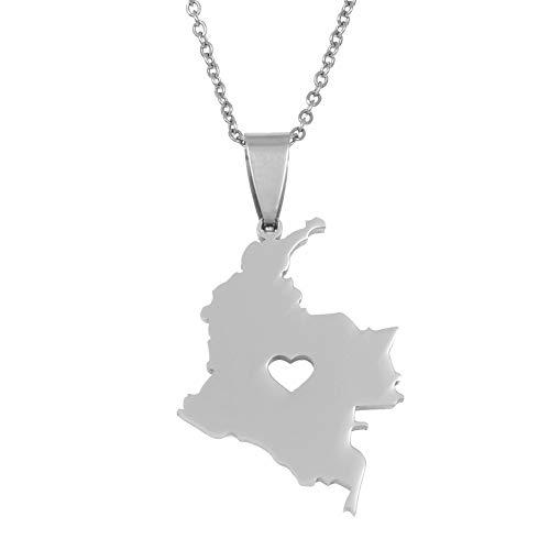 Mapa de Colombia Colgante Collar para Mujeres Hombres Joyas de Acero Inoxidable Mapa de Cadenas Colombianas