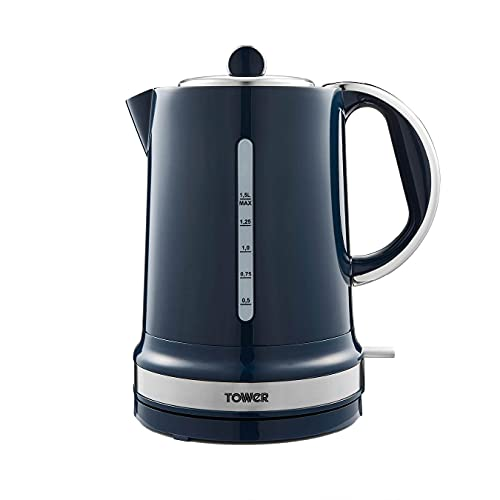 Tower T10049MNB Belle Jug Kettle with Rapid Boil, 1.5 Litre, 3000 W, Midnight Blue