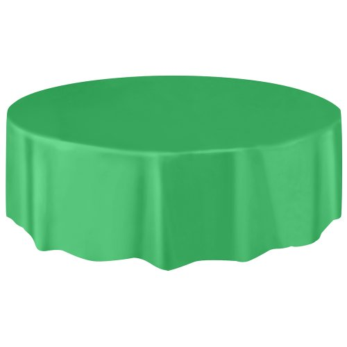 """Round Plastic Tablecloth, 84"""", Green"""