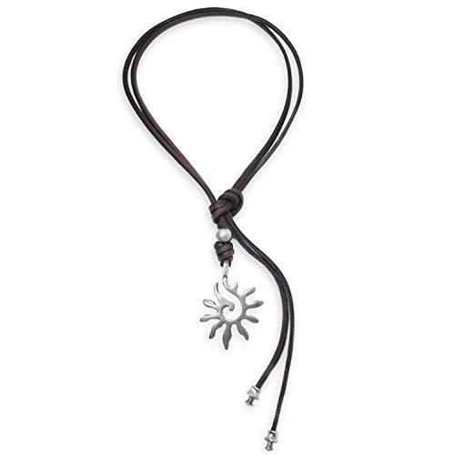 Beau Soleil Jewelry Lederkette Halskette Lederband-Kette mit Anhänger Sonnen Symbol Lederschmuck Braun (Braun)