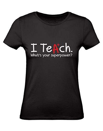 Green Turtle T-Shirts Camiseta para Mujer - Regalo para Profesora - I Teach Whats Your Superpower?, Profesoras, Maestros, MaestrasMedium Negro