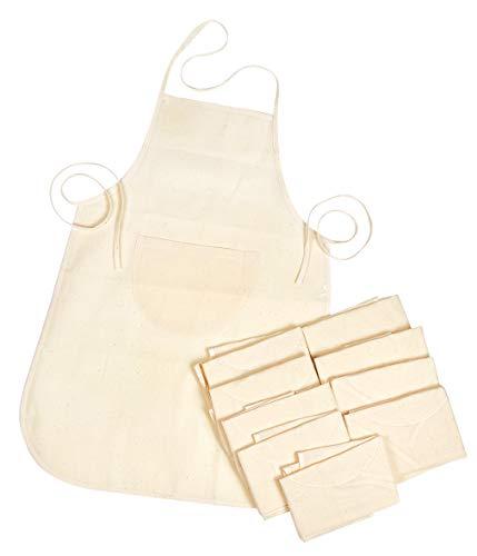 10 Kochschürzen für Kinder unifarben Bastelschürze Backschürze Malschürze Schürze 50x40 cm mit Fronttasche und Nackenband