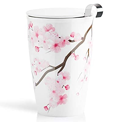 SWEEJAR Ceramic Tea Cup with Infuser Basket and Lid for Steeping, Double Wall Porcelain Loose Leaf Tea Brewing System Keep Warming, 10 OZ Tea Mug for Home, Office, Gift(Cherry blossoms)