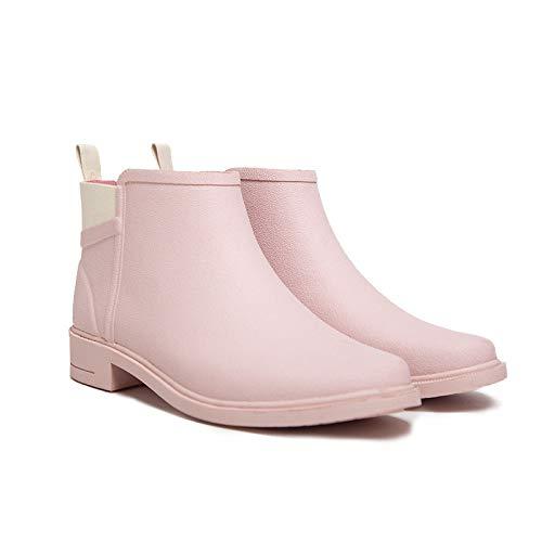 YJxiaobaozi Regenlaarzen Voor Vrouwen Waterdichte Korte Buis Regenlaarzen Roze Winter Leuke Mode Antislip Vrouwelijke Water Schoenen Regenlaarzen Draag Warme Rubberen Schoenen Chelsea Booties