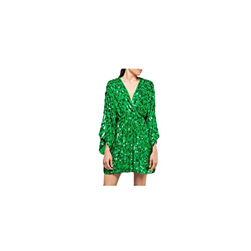 Replay Women's Sequins Mini Dress Green in Size Medium