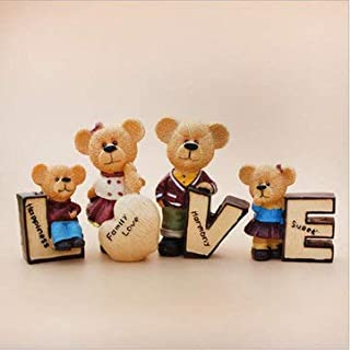 4pcs/set Love Carton Teddy Resin Doll Car Interior Decoration Figurine Home Craft Decorations Cartoon Bears Car Dolls Decor Accessories Furnishing Fashion Couple Gift - Decorative Crafts DIY Crafts