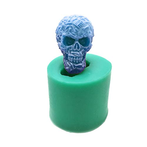 anne210 3D Halloween Totenkopf Kuchenform, 3D Totenkopf Silikon Fondant, Handgefertigt, Seife, Kerze, Fondant, Gelee, Schokolade, Mousse, Kuchen, Backform, Aromatherapie