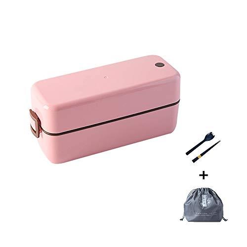 Caja De Plástico Verde De 1000ml, Caja con Doble Capa Y Cubertería, Caja para Comida, Muy Adecuada para Almuerzos Y Snacks para Niños Y Adultos (Color : Pink)