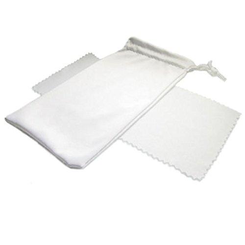 Schleiter & Jauernig SJ-BT-W microvezel zak & doek brillenzakje etui met kunststof koord voor het veilig opbergen van 3D-brillen zonnebrillen fijne microvezeldoek, 200 g