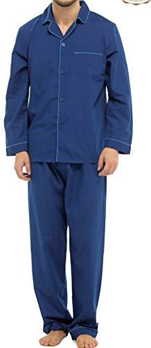 Pijama de algodón para Hombre, diseño de Pijama de Pijama para Invierno, Color Azul, Azul Marino, Rojo, borgoña, Talla Grande de Navidad, S-8XL