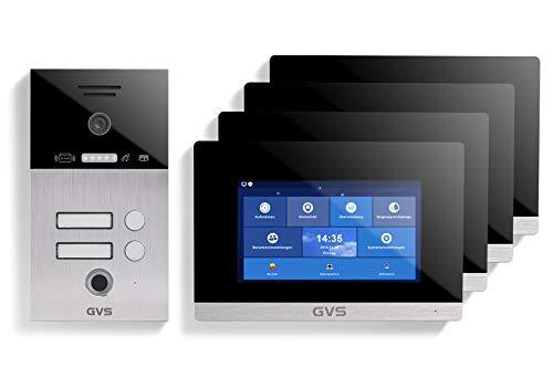 GVS Videoportero IP IP65 con RFID y huellas dactilares, 4 monitores de 7 pulgadas, aplicación, cámara HD de 150°, apertura de puertas, memoria de 32 GB, interruptor PoE, set de 2 casas, AVS5042U