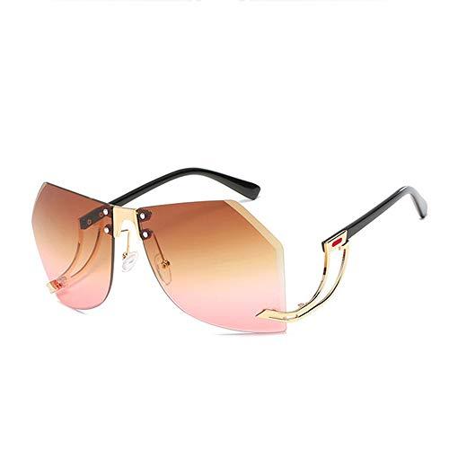 WPHH Gafas De Sol Irregulares Sin Montura para Mujer Montura De Aleación Gafas De Sol De Gran Tamaño Gafas De Sol De Moda Transparentes para Mujer,C3