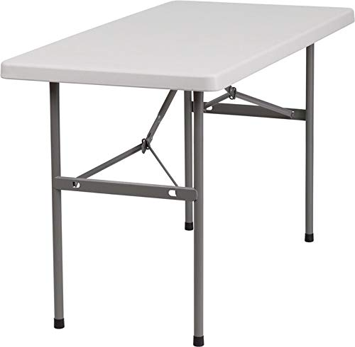 """Rhinolite 24"""" x 48"""" (4ft) Social Distancing Plastic Folding Table, Solid One Piece Top, Locking Steel Frame, Perfect for Individual Use"""