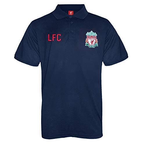 FC Liverpool Herren Polo-Shirt mit originalem Fußball-Wappen - Marineblau - XL