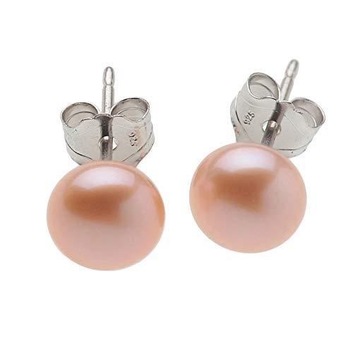 Pendientes para mujer de plata de ley 925 rodiada con perlas cultivadas en agua dulce, pendientes de color champán