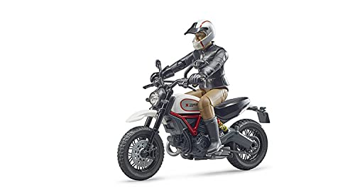 Bruder 63051 Ducati Scrambler Desert Sled Motorcycle Bike with Driver Figurine and Accessories (Color May Vary)
