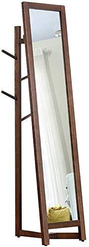 YLCJ Perchero para Ropa de Madera Maciza Percha para el Piso Percha para Ropa Perchero Combinado con Espejo Perchero para el hogar Vertical (Color: Marrón)