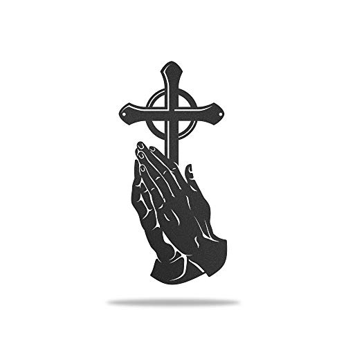 Redline Steel Peaceful Praying Hands Wall Decor with Conviction Cross (Black)