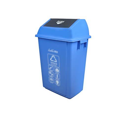 C-J-Xin Großer Handel Trash Can, Rechteck Starke großen Kapazitäts-Recycling Bins Straße Wohngebietes Dustbins Hohe Kapazität (Color : Blue, Size : 32 * 23 * 47CM)