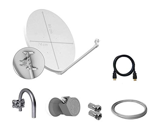 Tecatel K80C1LSCC Kit parabólica 80 cm, Soporte, LNB Universal, Cable y...