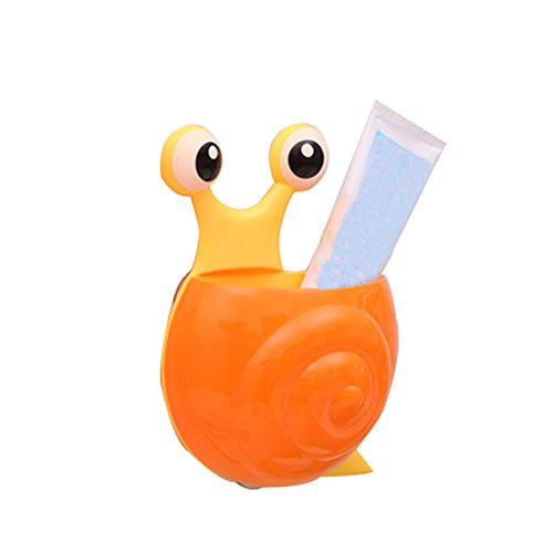 Price comparison product image Kobay Cute Cartoon Sucker Hook Toothbrush Holder Snail Bathroom Set, Punch Free Storage Rack Heavy Duty Sticky Hanging Hook