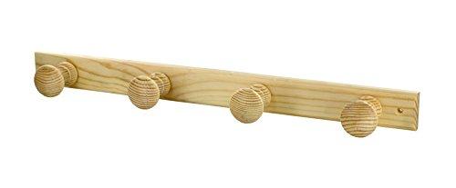 Interges kapstok, 4 koppen, onbewerkt hout, 47,5 x 6,2 x 4,2 cm