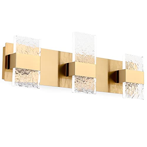 Dailyart Bathroom Vanity Lights Fixtures 3 Light Modern Bathroom Lighting Fixtures Over Mirror 26 Inch 18W Led Vanity Light Luxury Led Light Wall Bathroom Gold Brass Cool White 6000k