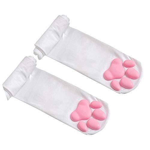 XUNN Calcetines altos para mujer, diseño de gato, color rosa Blanco Talla única