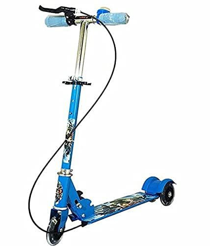 Mahakali Enterprise Road Runner Scooter for Kids of 3 to 14 Years Age 3 Adjustable Height, Foldable, LED PU Wheels & Weight Capacity 75 kgs Kick Scooter with Brake (Multi)